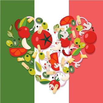 Produtos alimentares mediterrânicos em forma de coração