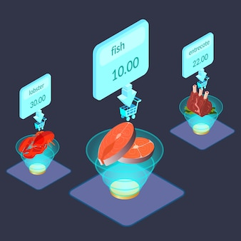 Produtos alimentares na ilustração isométrica de exibição