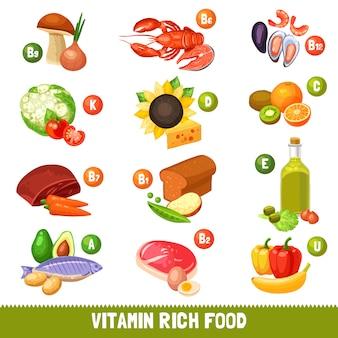 Produtos alimentares ricos em vitamina