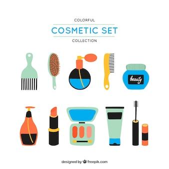 Produtos cosméticos coloridos ajustados