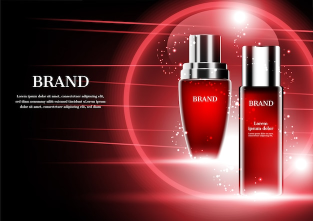 Produtos cosméticos com linhas vermelhas abstratas e esfera no fundo escuro