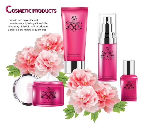 Produtos cosméticos com peônias flor