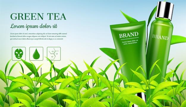 Produtos cosméticos com pequenas árvores