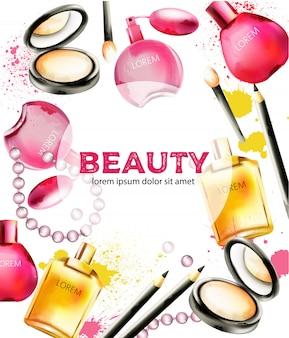 Produtos cosméticos de beleza com perfumes, pós, pincéis e miçangas