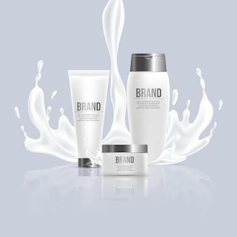 Produtos cosméticos de beleza vetoriais design realista creme para as mãos e corpo