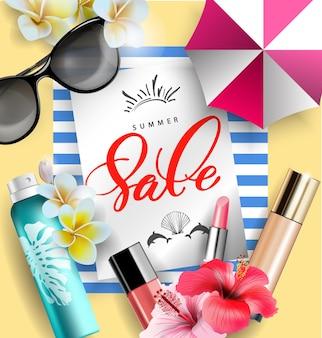 Produtos cosméticos de proteção solar com flores tropicais conceito de venda de verão modelo de vetor