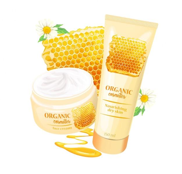 Produtos cosméticos orgânicos com morangos