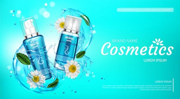 Produtos cosméticos para cuidados com o corpo em respingos de água