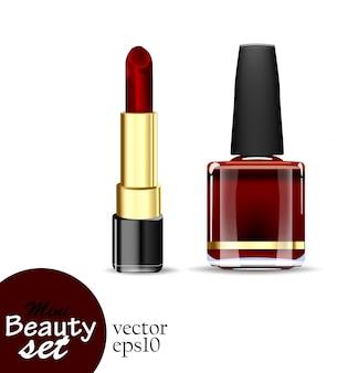 Produtos cosméticos realistas. um batom de tubo e um esmalte de garrafa são de cor vermelho escuro saturada, isolados em um fundo branco. conjunto de ilustrações mini beleza.