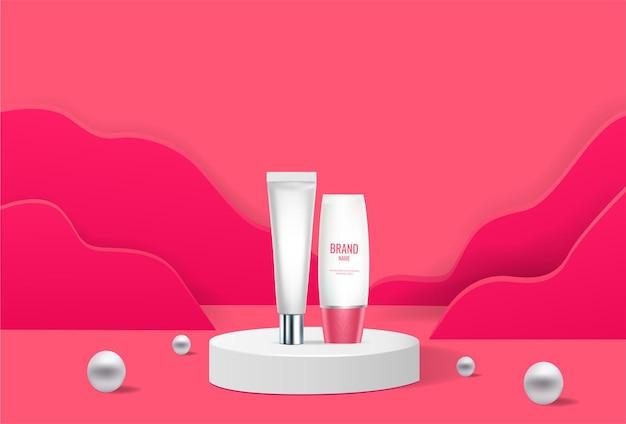 Produtos cosméticos rosa pódio geométricos