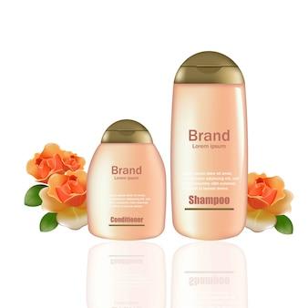 Produtos cosméticos vector realista maquete. champô rosa e garrafas de condicionamento com logotipo