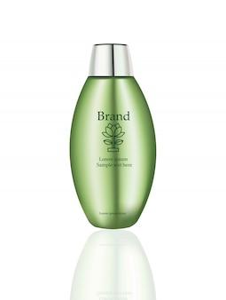 Produtos cosméticos vector realista maquete. embalar garrafas com logotipo
