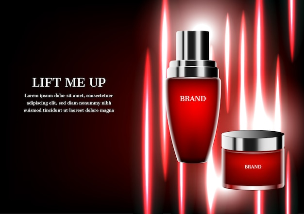 Produtos cosméticos vermelhos com modelo e fundo do feixe de luz vermelha