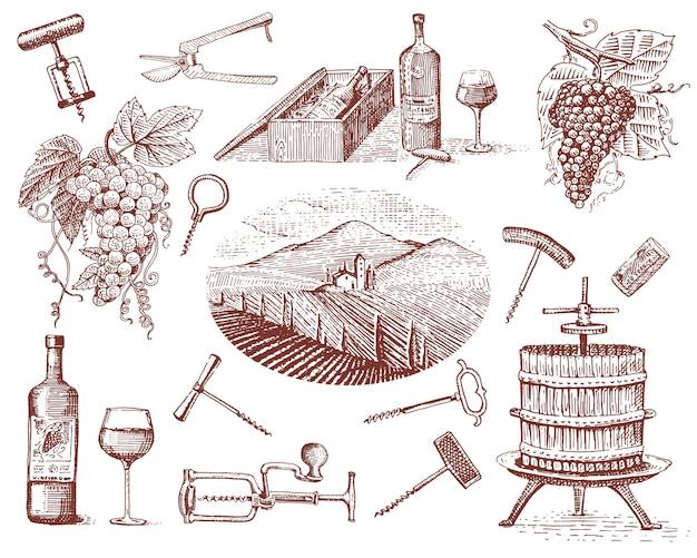 Produtos da colheita de vinho, prensa, uvas, vinhas saca-rolhas copos garrafas em estilo vintage, gravado mão desenhada