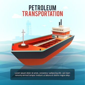 Produtos da indústria de petróleo transportando petroleiro com plataforma de perfuração de petróleo em águas profundas