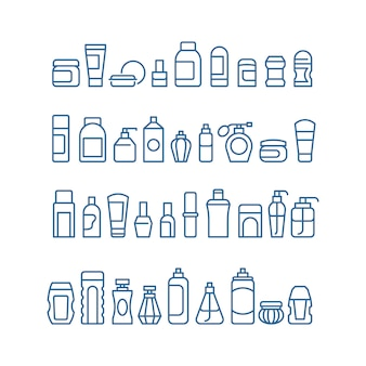 Produtos de beleza de mulher, cosméticos, cuidados com a pele do corpo e maquiagem pacote vetor ícones isolados