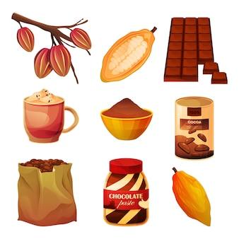 Produtos de cacau e alimentos de chocolate e cacau em pó