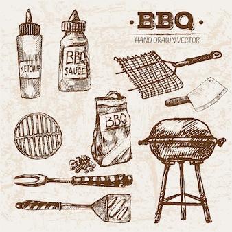 Produtos de carne de churrasco mão desenhada
