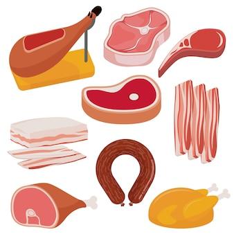 Produtos de carne de design plano
