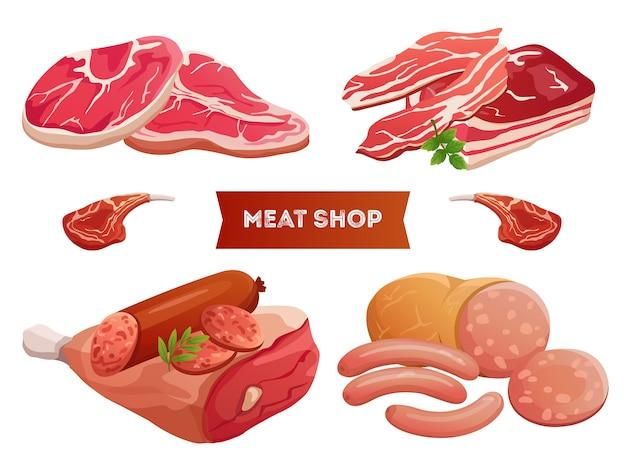 Produtos de carne dos desenhos animados e carne fresca no fundo branco