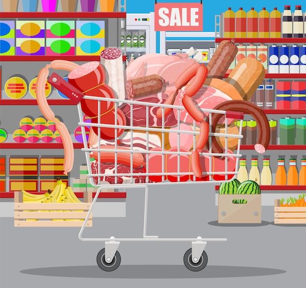 Produtos de carne no carrinho do supermercado. balcão de vitrine de açougue de loja de carne. produto em fatias de salsicha. produto gastronômico de charcutaria à base de salame de frango de porco bovino. estilo simples de ilustração vetorial