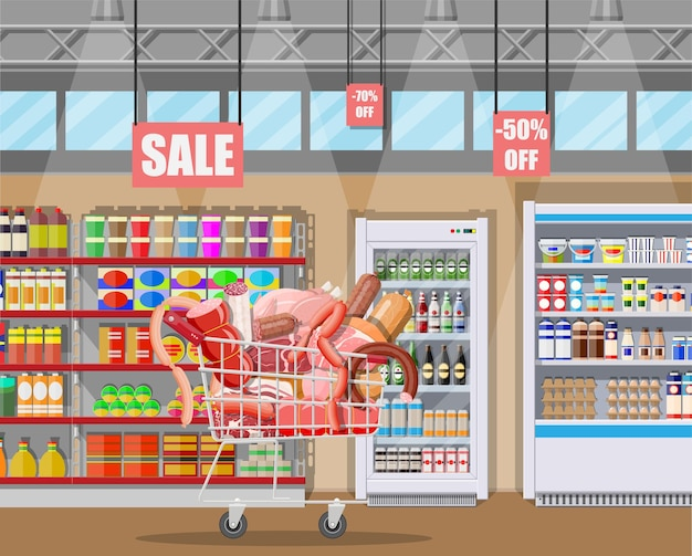 Produtos de carne no carrinho do supermercado. balcão de vitrine de açougue de loja de carne.