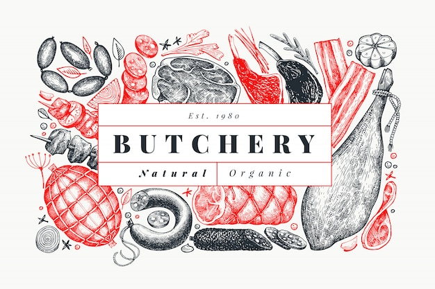 Produtos de carne vintage vector