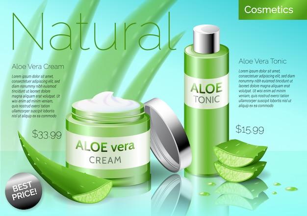 Produtos de cosméticos realistas de aloe vera, frasco com tônico e creme