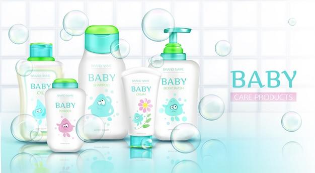 Produtos de cuidados do bebê, frascos de cosméticos com desenhos animados de crianças
