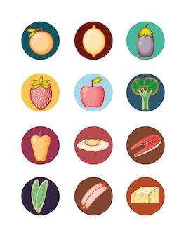 Produtos de dieta alimentar saudável conjunto vector design ilustração de vetores