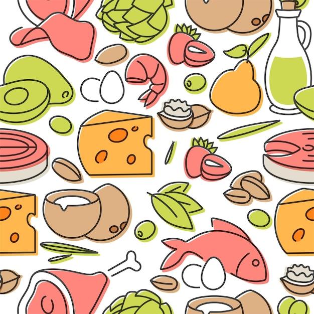 Produtos de dieta ceto de ilustração vetorial. conceito de alimentação saudável. padrão uniforme.