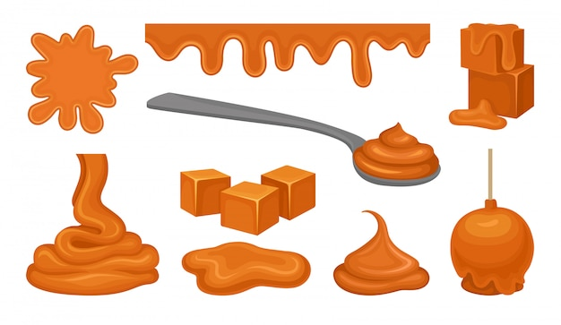 Produtos de esmalte em fundo branco. conceito de caramelo.