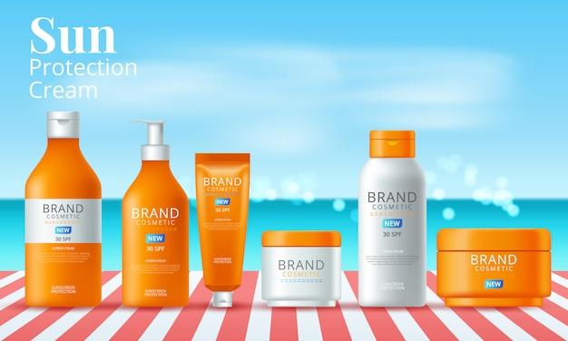 Produtos de filtro solar definem anúncios com o verão. ilustração