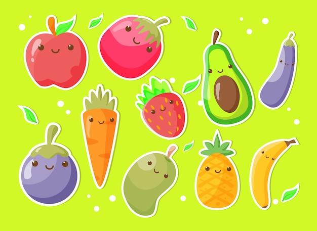 Produtos de frutas e vegetais com caráter kawaii