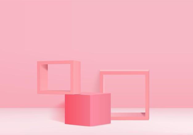 Produtos de fundo 3d exibem cena de pódio com plataforma geométrica