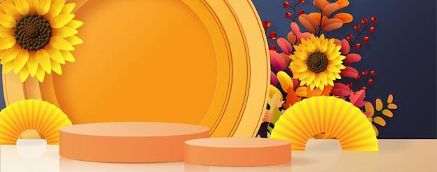 Produtos de fundo de pódio 3d com formas geométricas fundo sazonal de feriado de outono