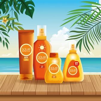 Produtos de garrafas de proteção solar para o verão