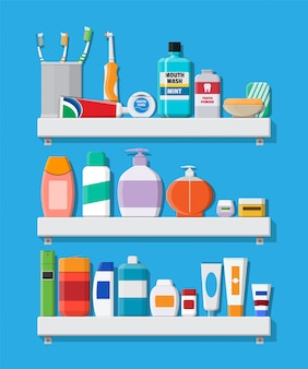 Produtos de higiene bucal e higiene.