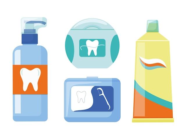 Produtos de higiene bucal, pasta de dente, fio dental e um palito. vetor