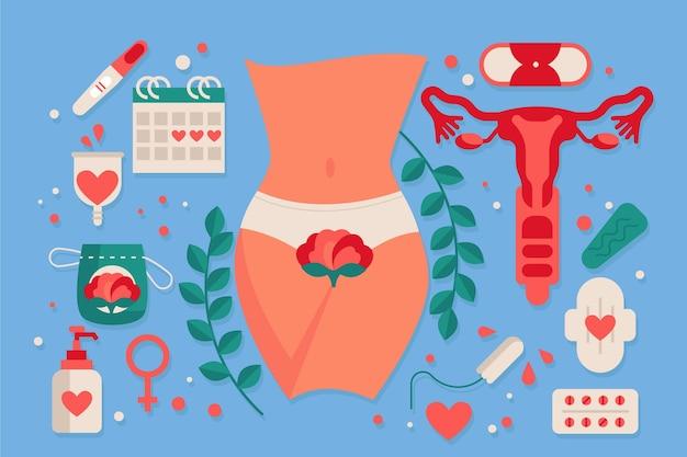 Produtos de higiene feminina ilustrados
