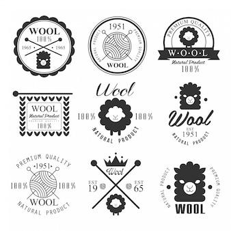 Produtos de lã natural de rótulo, emblema e logotipo.