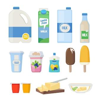 Produtos de leite. alimentos lácteos iogurte leche queijo sorvete vetor dos desenhos animados coleção de produtos naturais saudáveis. queijo natural, bebe leite e ilustração de iogurte lácteo