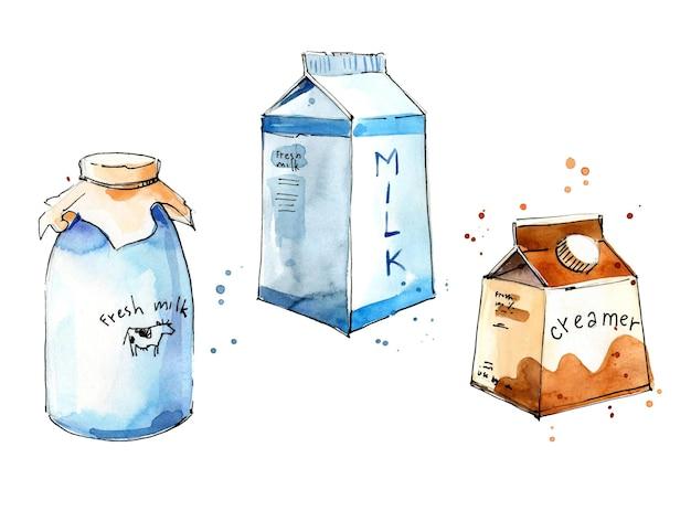 Produtos de leite em vários esboço de aquarela de embalagens.