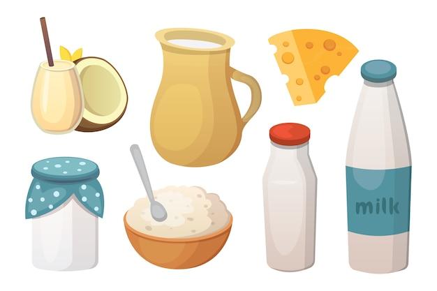 Produtos de leite orgânico fresco com queijo.