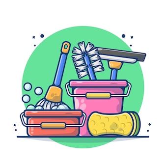 Produtos de limpeza isolados no branco