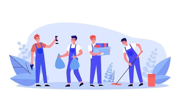Produtos de limpeza masculinos dos desenhos animados no uniforme, limpeza de casa ou escritório. homens levando o lixo para fora, limpando a ilustração vetorial plana de chão. serviço de limpeza, conceito de trabalho doméstico para banner, design do site ou página inicial