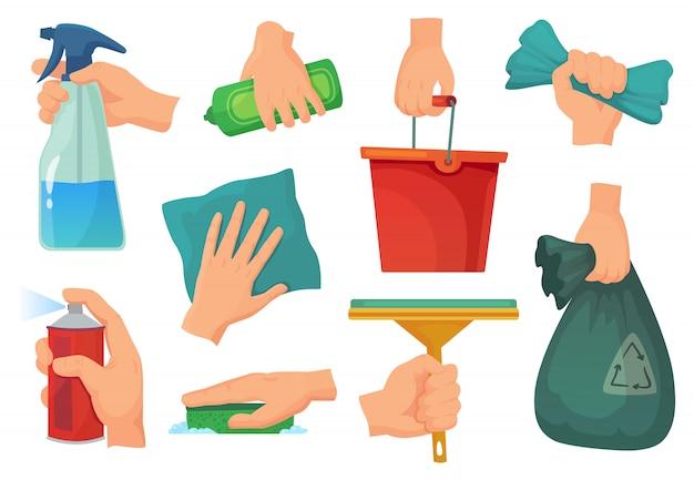 Produtos de limpeza nas mãos. mão segure detergente, material doméstico e pano de limpeza cartoon conjunto de ilustração