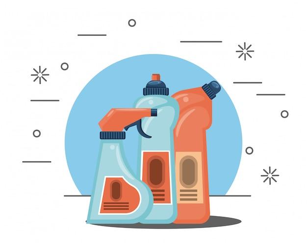 Produtos de limpeza para desenhos animados em casa