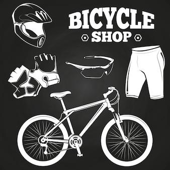 Produtos de loja de bicicletas no quadro-negro
