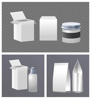 Produtos de maconha e caixas marca conjunto isolado